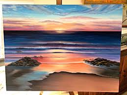 cliched sunset beach painting by chiitters