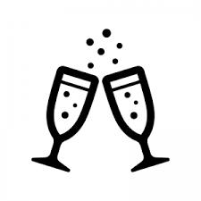 シャンパンで乾杯のシルエット 無料のaipng白黒シルエットイラスト