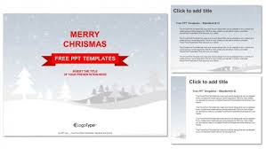 Merry Christmas With Snowy Winter Ppt Templates