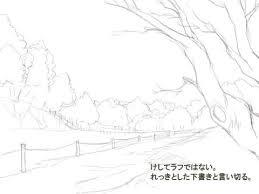 森のある背景イラストのメイキングラフから線画塗りまで自然のある