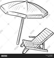 Beach Chair Drawing Beach Chair Umbrella Sketch Vector Photo