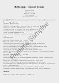 Resume Templates Example Montessori Teacher High School Sample Yun56