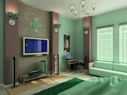 Master Bedroom Interior Decorating Color Designs For Bedrooms With Modern Lcd Tv And Green Wall