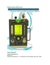 Uni Vent Operation Manual 731 Series Electrical Mini Ventilator