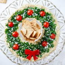 Now stuff that bread with cheese, sprinkle it with dried herbs and bake until golden and you have an adorable and delicious festive appetizer. Easy Christmas Appetizer Hummus Wreath Two Healthy Kitchens