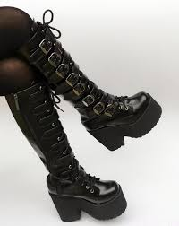 japanese harajuku high platform chunky heel cosplay knee high boots women black leather belt buckle gothic punk high boots zip womens boots boots uk from