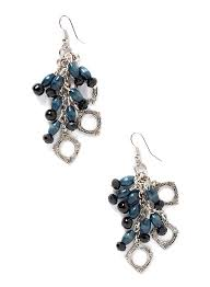 long chandelier earrings with decorative silver plated hoops blue beads and black faceted beads hanging