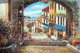 tuscany italian ocean s town cafes flowers stretched 24x36 oil painting art