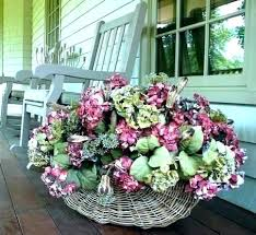 faux outdoor silk flowers hanging artificial baskets fake decorating