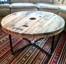 industrial look coffee table coffee table round reclaimed salvaged wood spool table with steel pipe base