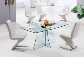 modern glass dining room tables. Small Modern Glass Dining Table With Lucite Bases And S Shaped Leather Chairs Room Tables