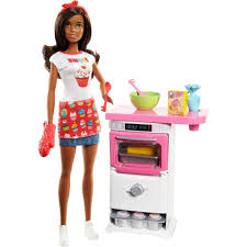 barbie cooking baking chef storytelling doll and playset brunette walmart