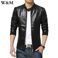 w m fashion men leather jacket 2016 spring england style slim casual zipper design motorcycle jacket coats men plus size 5xl in faux leather coats from