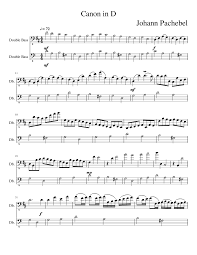 Canon In D Bass Clef Sheet Music For Contrabass Download
