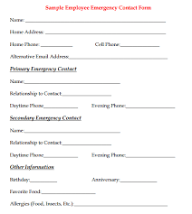 Employee Emergency Contact Form 9 Templates Templates Contact