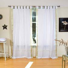 tab top sheer curtains. Amazon.com: White With Gold Tab Top Sheer Sari Curtain / Drape Panel - 43W X 84L Piece: Home \u0026 Kitchen Curtains O