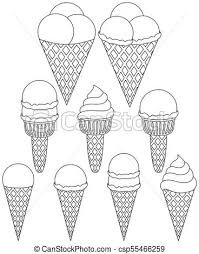 black and white ice cream cone icon set 9 elements coloring book page for s and kids summer fast food vector ilration for gift card flyer