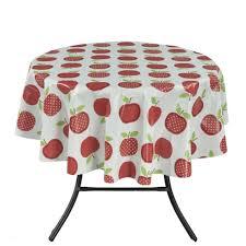 ottomanson tab6023 round vinyl tablecloth cute apple design indoor outdoor tablecloth non woven backing 55 round multicolor ottomanson