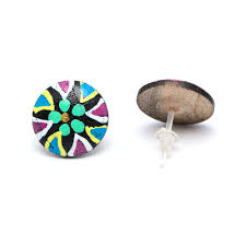 idin jewellery round hand painted black and green flower wooden stud earrings with plastic posts