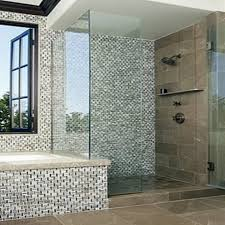 fabulous mosaic wall design mixed with drop in bathtub and bathroom glass shower room large size