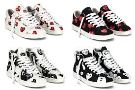 converse x comme des garcons. once again converse has teams up with japanese super brand comme des garcons play. after the previous success of comme chuck taylor all star hi and lo, x garcons