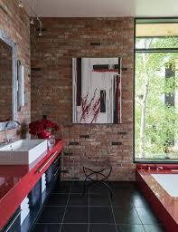 red track lighting. Pretty Red And Black Bathroom Ideas Contemporary With Track Lighting Aluminum Bathtubs