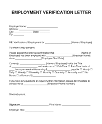 Employment Verification Letter Template Word Sample Blank Employment Verification Letter Every Last