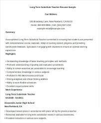 Substitute Teacher Resume Job Description Sample Long Term Cover