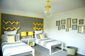 grey accent wall for small bedroom ideas with zigzag carpet and white double beds in living