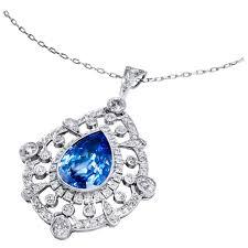 9 83 carat sapphire diamond platinum pendant for