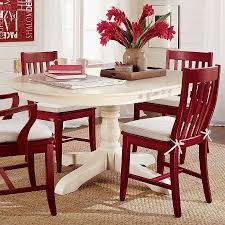paint dining table and chairs with rust oleum 2x cranberry color with white seat pad