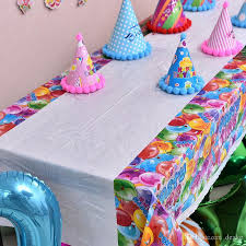 whole 108 180cm disposable cute cartoon tablecloth children kids birthday party decoration plastic table cloth tablecover supplies round linen