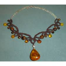 gemstone amber tiger eye coton choker tatting necklace confortable creation le saule reveur l âge de pierre