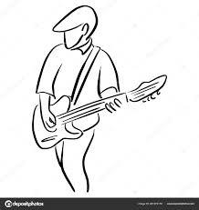 Man Met Een Elektrische Gitaar Vector Illustratie Schets Doodle Hand