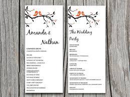 Diy Love Bird Heart Tree Branch Wedding Program Microsoft Word