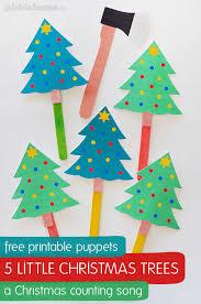 Printable Christmas Tree Five Little Christmas Trees Song Free Printable Puppets