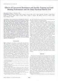 pdf effects of concur resistance and aerobic on load bearing performance and the army physical fitness test