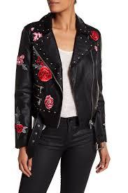 balefl patched studded faux leather moto jacket