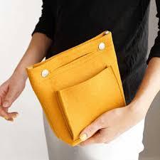 Women Portable Travel <b>Organizer Cosmetic</b> Bag <b>Felt</b> Cloth Insert ...