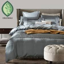 luxury silk cotton bedding sets duvet cover bed set the bed linen blue red grey queen
