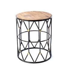 round metal side table green outdoor with drawer black target drum glass top and legs