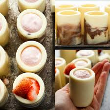 white chocolate shot glasses with strawberry mousse strawberry
