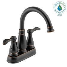 delta porter 4 in centerset 2 handle bathroom faucet in oil rubbed bronze