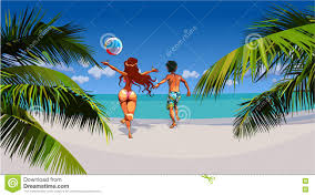 cartoon man and woman happily running on tropical beach stock vector ilration of blue