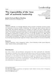 the impossibility of the true self of authentic leadership pdf the impossibility of the true self of authentic leadership pdf available