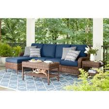 hampton bay cambridge brown 5 piece wicker outdoor sectional set with blue cushions