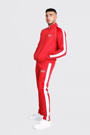 Buy boohoo dresses, tops, skirts, tshirts, etc. Man Funnel Neck Tricot Tracksuit With Side Tape Boohoo