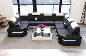 Sofa Wohnlandschaft O U Form In Leder Schwarz Und Weiss