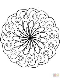 Disegno Di Mandala Con Decorazione Di Fiori Semplici Da Colorare Con