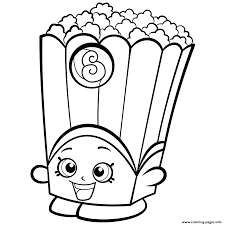 Shopkins Coloring Pagestes Printable Page For Kids With Popcorn